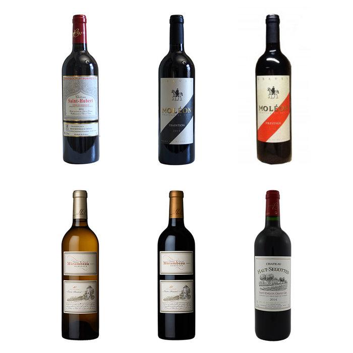Wijnpakket met 6 Bordeaux wijnen