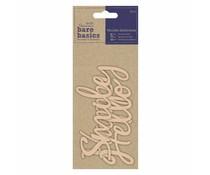 Papermania Bare Basics Wooden Sentiments Hello, Smile, Happy (3pcs) (PMA 174687)