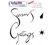 IndigoBlu Christmas Script 1 A7 Rubber Stamp (IND0128)