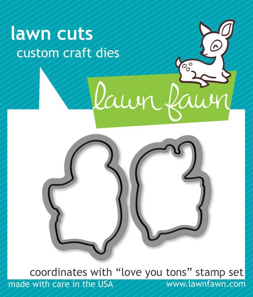 Die Lawn Fawn Love You Tons Clear Stamp and Steel Die Set Stamp /& LF600 Includes One Each of LF598 - Custom Set