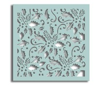 Polkadoodles Holly Flourish 6x6 Inch Stencil (PD7434)