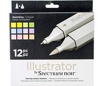 Spectrum Noir Spectrum Noir Illustrator Sketching (12pc) (SPECN-IL12-SKE)