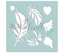 Polkadoodles Feathers & Wings 6x6 Inch Stencil (PD7532)