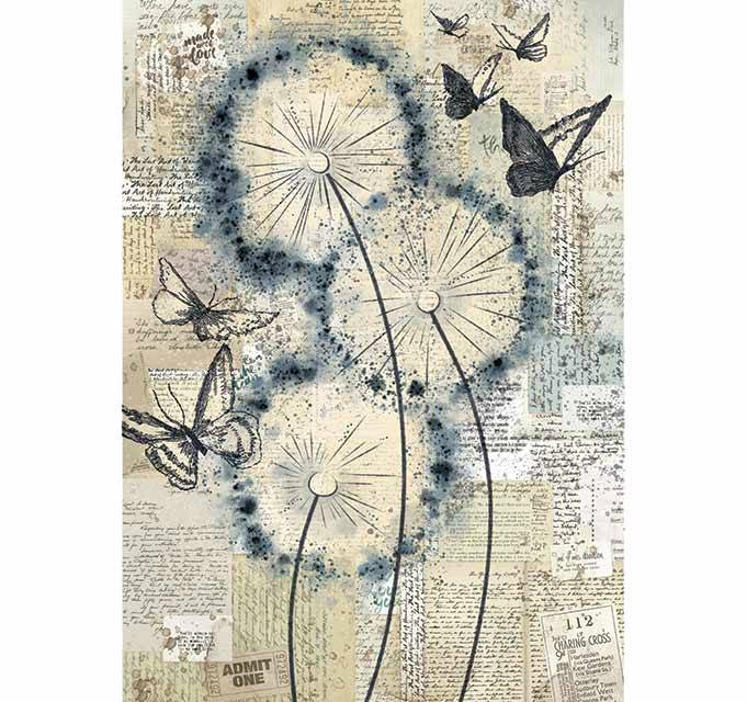 mixed media art Stamperia A4 rice paper Blowing in the wind scrapbooking decoupage