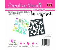 Polkadoodles Pretty Butterfly 6x6 Inch Stencil (PD7704)