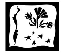 IndigoBlu Aitch's Flowers 6x6 Inch Stencil (IND0547)