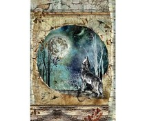 Stamperia Rice Paper A4 Cosmos Wolf & Moon (6pcs) DFSA4388)