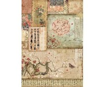 Stamperia Rice Paper A4 Branch & Writings (DFSA4394)