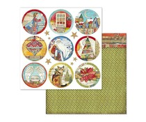 Stamperia Christmas Rounds 12x12 Inch Paper Sheet (SBB637)