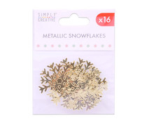 Simply Creative Christmas Metallic Snowflakes Gold (16pcs) (SCTOP050X19)
