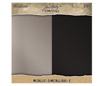 Idea-ology Tim Holtz Kraft-Stock 8x8 Inch Paper Stash Metallic 3 (TH94021)