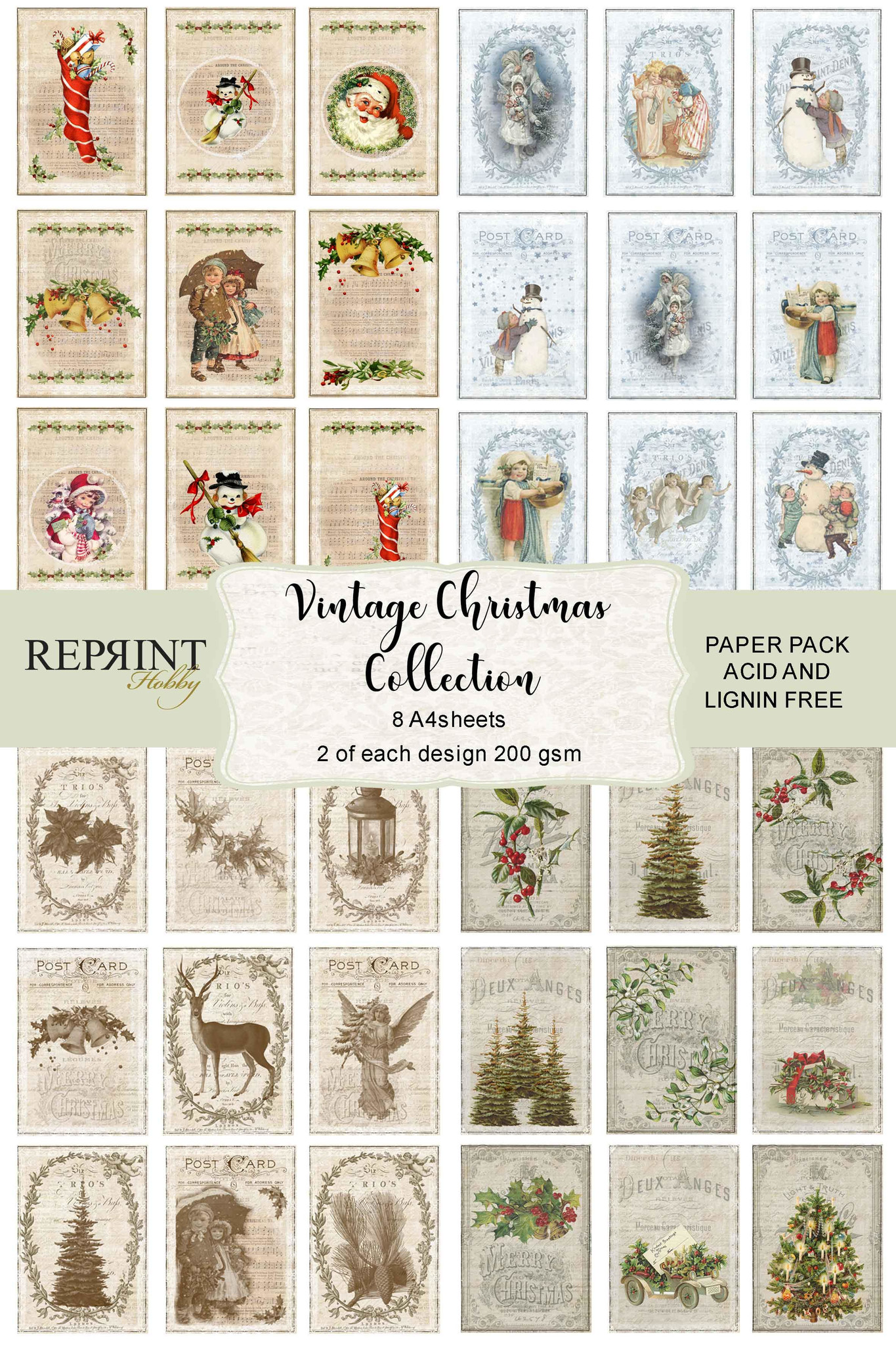 Snowy Christmas /& Frosted Florals Mini Kit Decoupage 3 x A4 Sheet Not Die-Cut