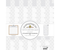 Doodlebug Design Daily Doodles 12x12 Inch Calendar Sheets Lily White (4939)