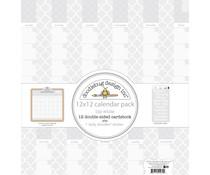 Doodlebug Design Daily Doodles 12x12 Inch Calendar Sheets Lily White (4939)