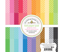 Doodlebug Design Rainbow 6x6 Inch Gingham-Linen Petite Print Paper Pad (5450)