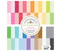 Doodlebug Design Floral-Graph Rainbow 12x12 Inch Petite Prints Paper Pack (6132)