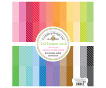 Doodlebug Design Dot-Stripe Rainbow 12x12 Inch Petite Prints Paper Pack (6133)