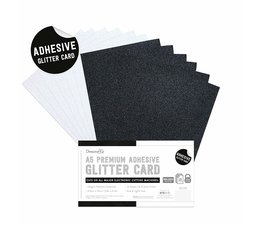 Dovecraft Adhesive Glitter Sheets A5 Black & White (DCGCD048)