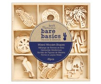 Papermania Bare Basics Wooden Shapes Tropical (45pcs) (PMA 174742)