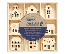 Papermania Bare Basics Wooden Shapes Houses (45pcs) (PMA 174744)