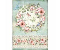 Stamperia Rice Paper A4 Roses and Butterfly (DFSA4445)