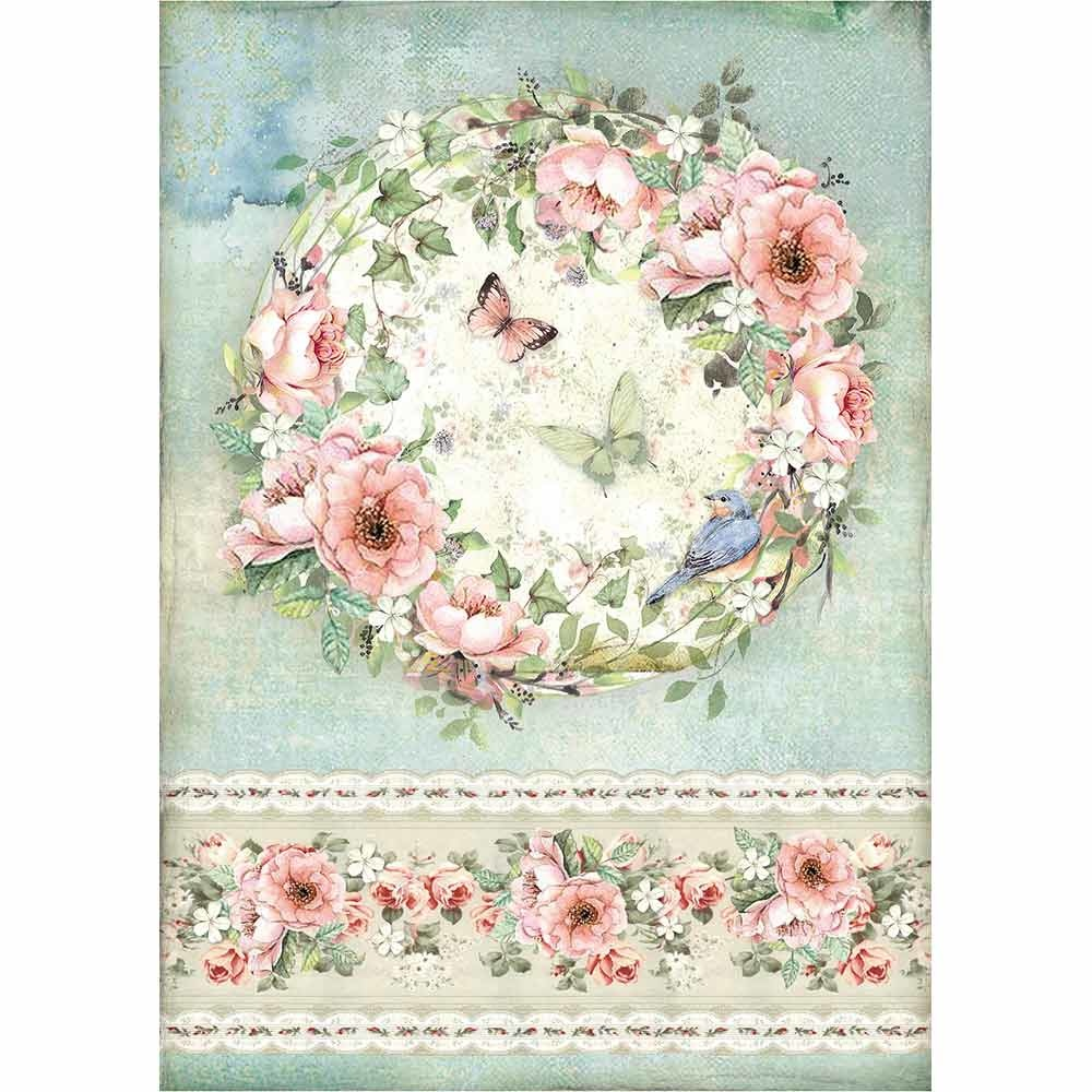 Rice Paper for Decoupage Scrapbook Craft Pink Christmas Rose