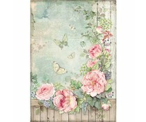 Stamperia Rice paper A4 Roses Garden with Fence (DFSA450)
