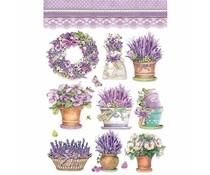 Stamperia Rice Paper A4 Lavender Vase (DFSA4456)