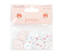Dovecraft Paper Posies Wooden Buttons (DCWDN097)