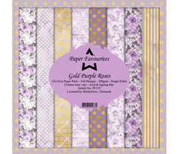 Dixi Craft Gold Purple Roses 6x6 Inch Paper Pack (PF119)