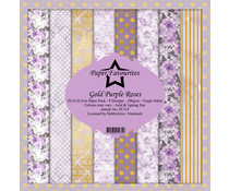 Dixi Craft Gold Purple Roses 12x12 Inch Paper Pack (PF319)