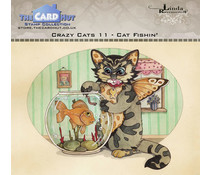 The Card Hut Crazy Cats Cat Fishin' Clear Stamps (LRCC011)