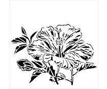 The Crafter's Workshop Hibiscus 6x6 Inch Stencil (TCW915s)