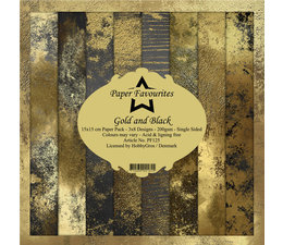Paper Favourites Gold and Black 6x6 Inch Paper Pack (PF125)