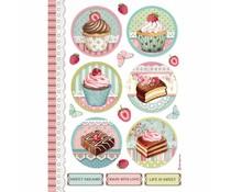 Stamperia Rice Paper A4 Round Mini Cakes (6pcs) DFSA4503)