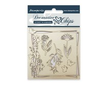 Stamperia Decorative Chips Flowers and Butterfly (SCB01)