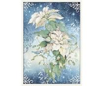Stamperia Rice Paper A3 Poinsettia White (DFSA3070)