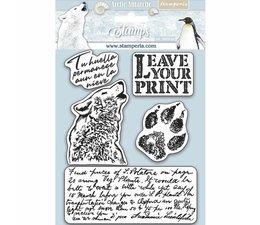 Stamperia Natural Rubber Stamp Arctic Antarctic Leave Your Print (WTKCC178)