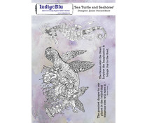 IndigoBlu Sea Turtle and Seahorse A5 Rubber Stamps (IND0666)