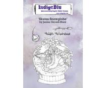 IndigoBlu Skates Snowglobe A6 Rubber Stamps (IND0675)