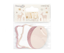 Dovecraft Winter Sparkle Rose Gold Glitter Tags (DCTOP188X20)