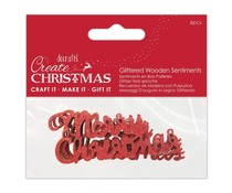 Papermania Glittered Wooden Sentiments Red (6pcs) (PMA 174978)