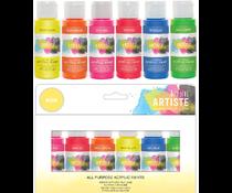 Docrafts Artiste Acrylic Paint Pack 6x59ml Neon (DOA 7632993)