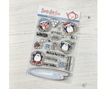 Time For Tea Skating By Penguins A6 Clear Stamps (T4T/480/Ska/Cle)