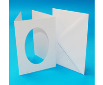 Craft UK Aperture Cards & Envelopes A6 White Hammered Tri-Fold Oval (CUK10817)