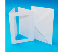 Craft UK Aperture Cards & Envelopes A6 White Hammered Tri-Fold Rectangle (CUK10828)