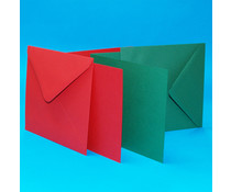 Craft UK Card and Envelope 5 x 5 Inch Christmas Red & Green (CUK520)