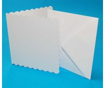 Craft UK Card and Envelope 5x5 Inch Scalloped White (CUK834)