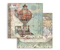 Stamperia Sir Vagabond Flying Train 12x12 Inch Paper Sheets (10pcs) (SBB747)