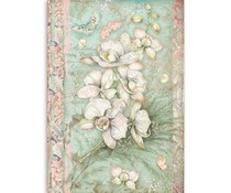 Stamperia Rice Paper A4 White Orchid (DFSA4508)
